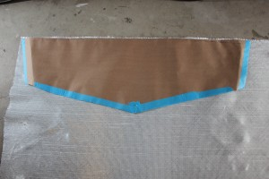 Using transom template to cut fibreglass