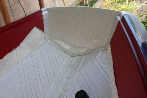Fibreglass cut for bottom and bow