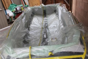 The bagging material is then laid over the tool and sealed to the flange.