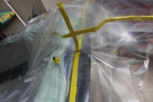 Pleats then need to be created and sealed with bagging tape to create a vacuum.